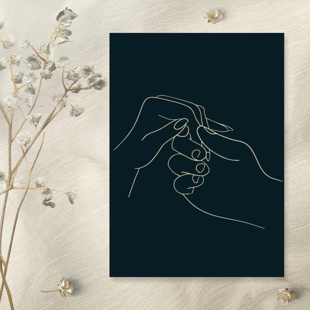 Plakat z dłonią kobiety i mężczyzny do przedpokoju