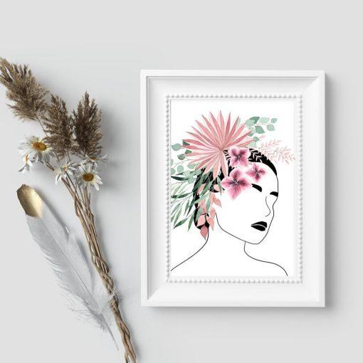 Plakat do sypialni - Kwiaty we włosach