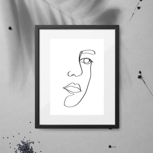 Plakat z ustami w stylu line art do biura