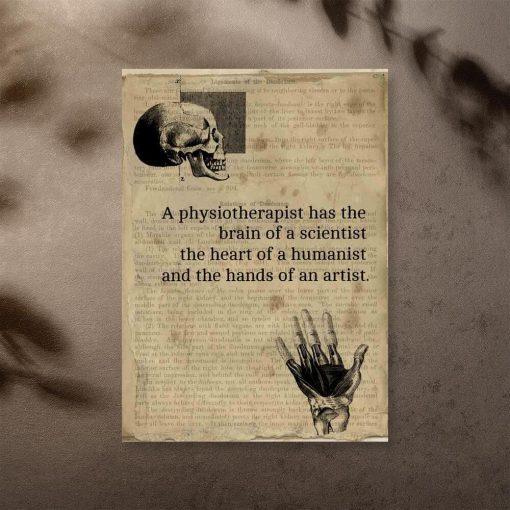 Plakat z angielską typografią do gabinetu fizjoterapii