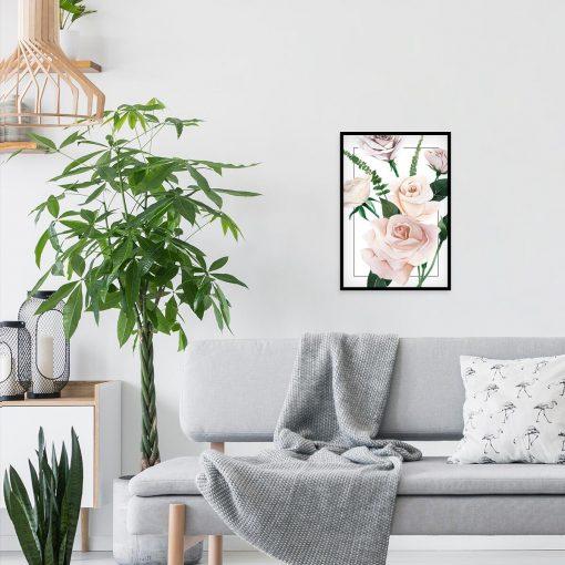 dostojna róża w pastelowym kolorze na plakacie w ramie