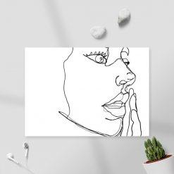 Obraz line art z twarzą do pokoju