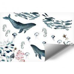Niebieska dekoracja na ścianę z wodnymi stworzeniami