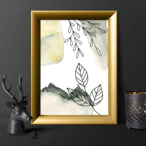 Plakat z liśćmi w stylu line art do przedpokoju