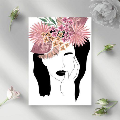 Plakat z egzotycznymi kwiatami do przedpokoju