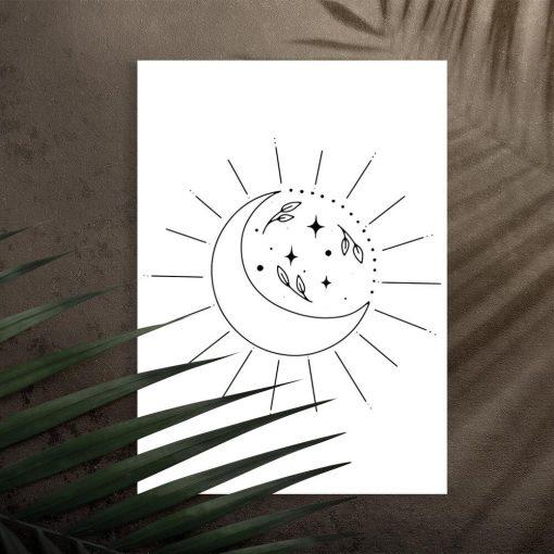 Plakat z księżycem i liśćmi do pokoju