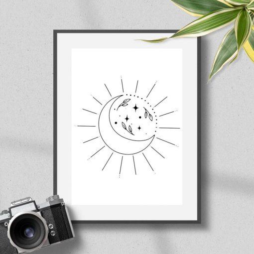 Plakat z księżycem i liśćmi do przedpokoju