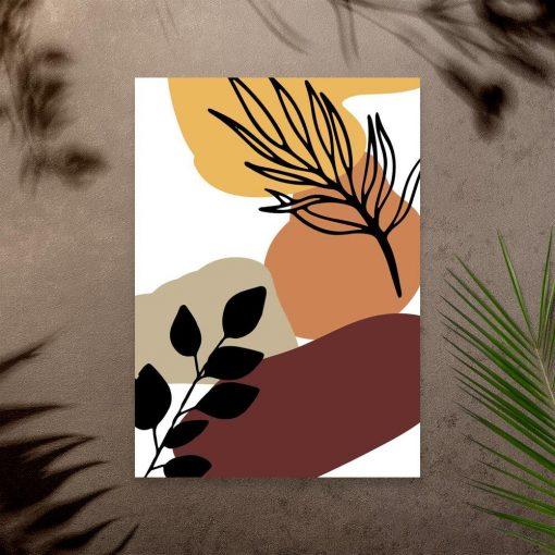 Nowoczesny plakat z liśćmi do przedpokoju