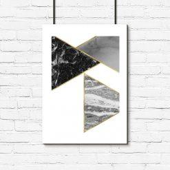 Plakat z marmurkowymi trójkątami do salonu