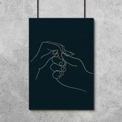 Plakat z dłonią kobiety i mężczyzny do salonu