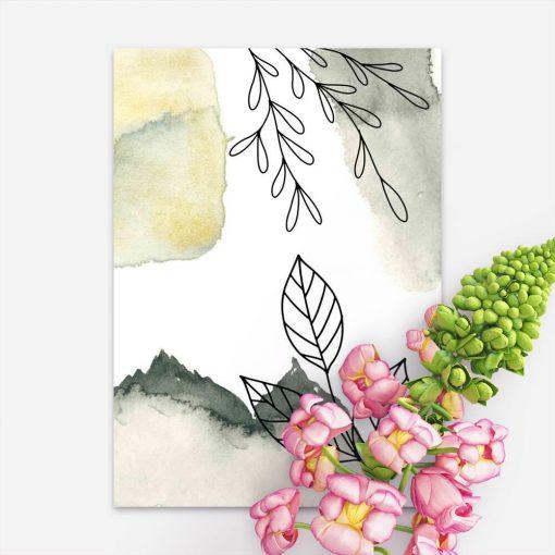 Plakat z liśćmi w stylu line art do biura