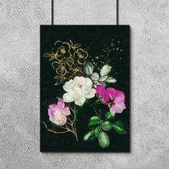Plakat do oprawienia z różowo-białymi różami