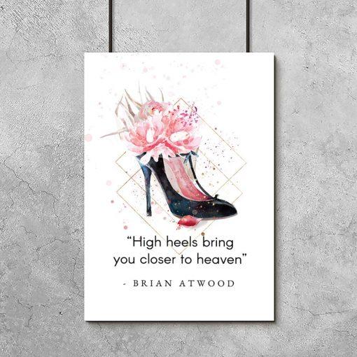 Plakat typograficzny dla kobiet - High heels