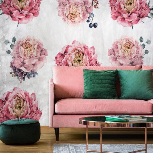 Rustykalna tapeta do pokoju z kwiatami