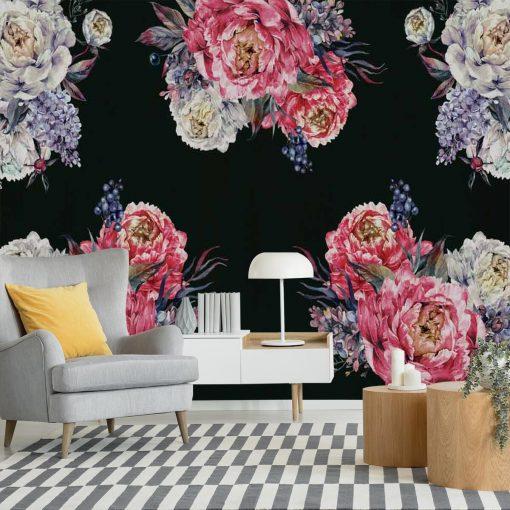 Fototapeta do pokoju z kwiatami peonii