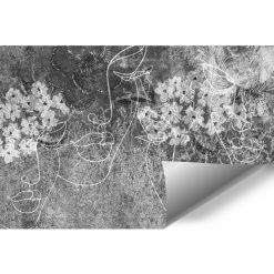Szara fototapeta z motywem line art do biura