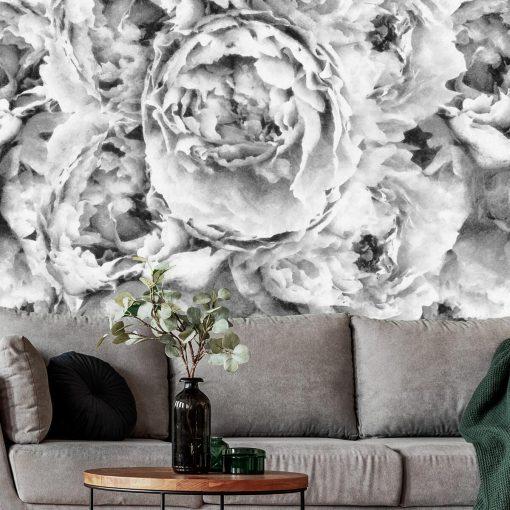 Szara fototapeta z kwiatami do salonu
