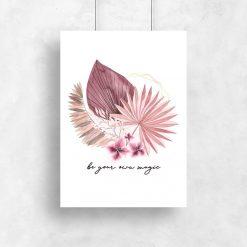 Plakat w różowej tonacji z typografią