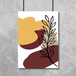 Plakat z abstrakcją i rośliną