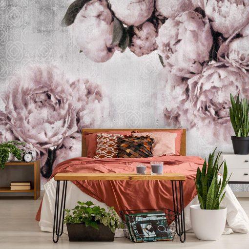 Fototapeta z różowymi peoniami do sypialni