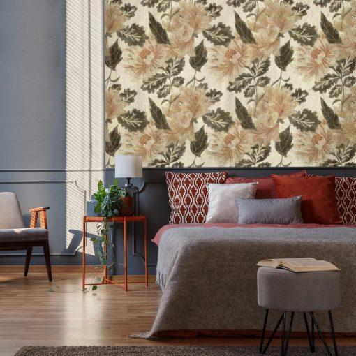 Tapeta do sypialni - Rustykalne kwiaty