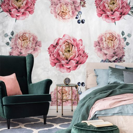 Rustykalna tapeta z kwiatami do sypialni