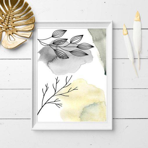 Plakat z abstrakcją na tle gałązek do pokoju