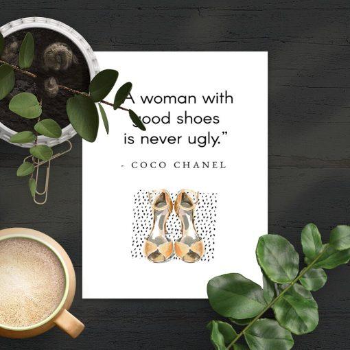 Plakat Coco Chanel do sypialni - Good shoes