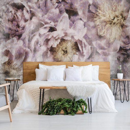 Tapeta do sypialni - Kwiaty i orientalny wzór