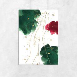 Plakat z dłońmi w stylu line art do pokoju
