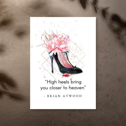 Plakat typograficzny do sypialni - High heels