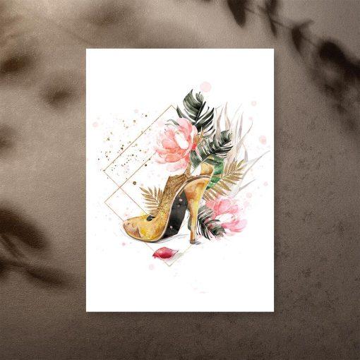 Plakat ze złotym butem do sypialni