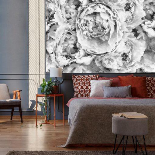 Szara fototapeta do sypialni z kwiatami