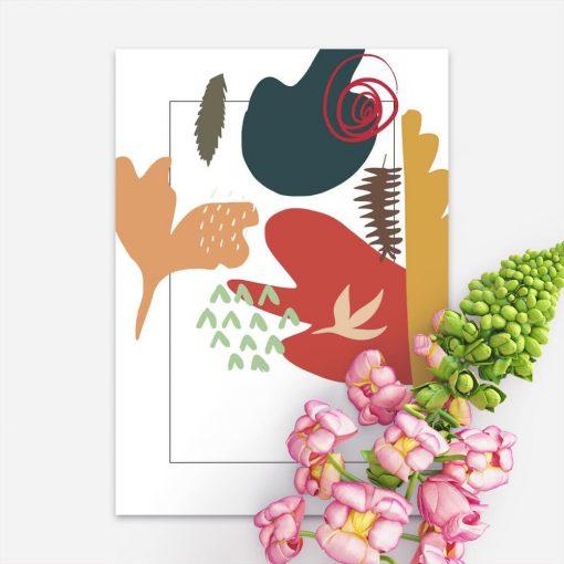 Plakat z motywem kolorowej abstrakcji do sypialni