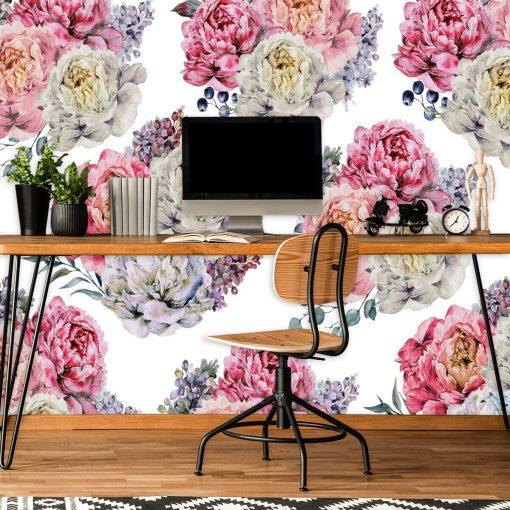 Tapeta w kwiatowy wzór do biura