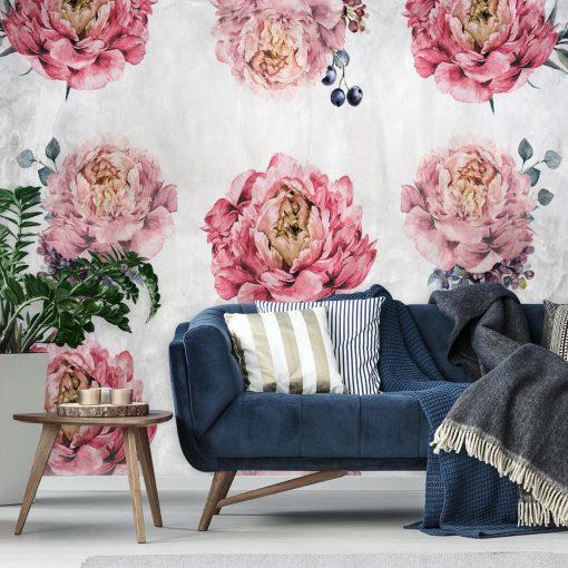 Rustykalna tapeta z kwiatami do salonu