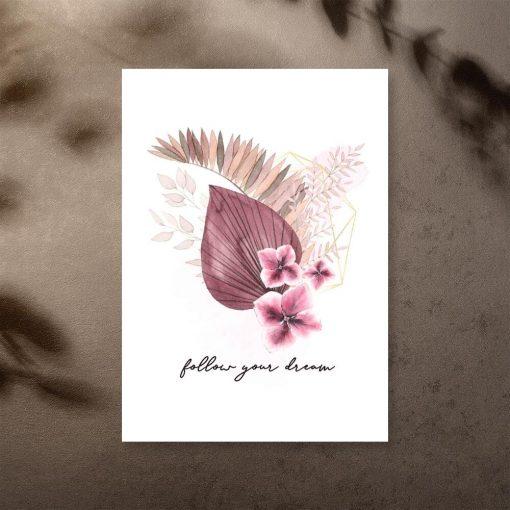 Plakat z różowych barwach i maksyma
