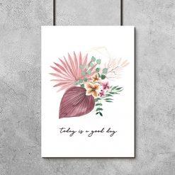 Plakat z kwiatami i typografią