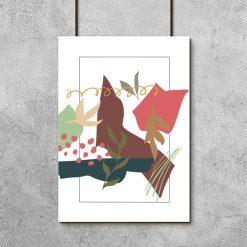 Plakat do biura z abstrakcją i listeczkami