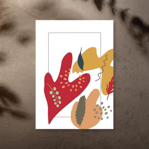 Plakat z abstrakcyjnymi plamami i roślinami