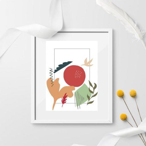 Plakat z kolorowymi elementami botanicznymi oraz abstrakcji