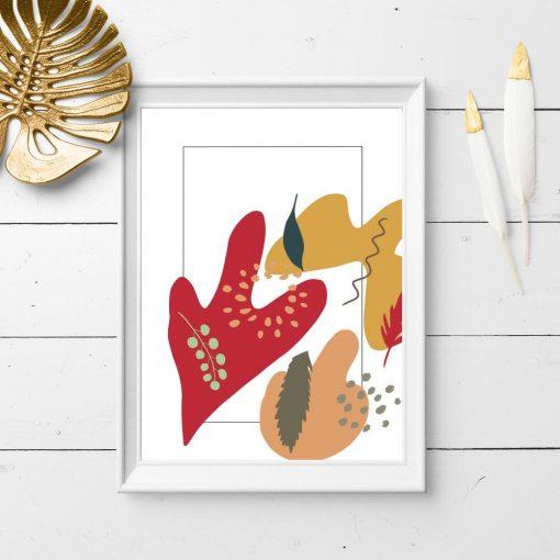 Plakat w kolorowe kleksy i motywy roślinne