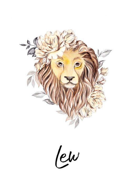Plakat z lwem - Znak zodiaku