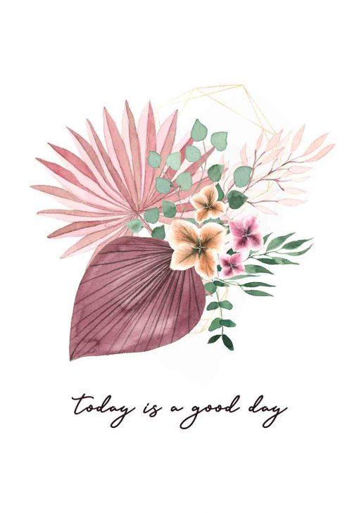 Plakat z sentencją i kwiatami