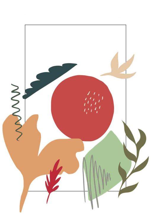 Plakat do biura z abstrakcją i roślinami