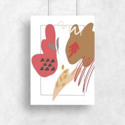 Stonowany plakat z motywem liści oraz abstrakcji