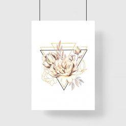 Plakat geometryczny z kwiatami do salonu