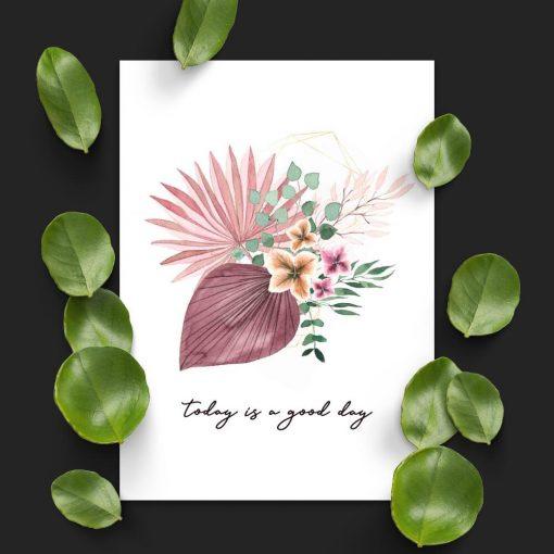 Plakat kwiatowy z maksymą życiową
