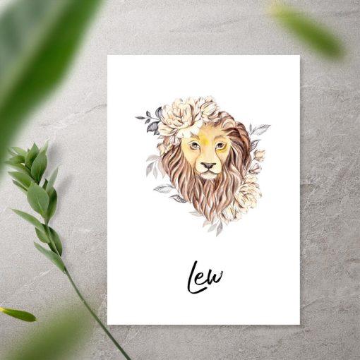 Plakat z lwem do sypialni - Znak zodiaku