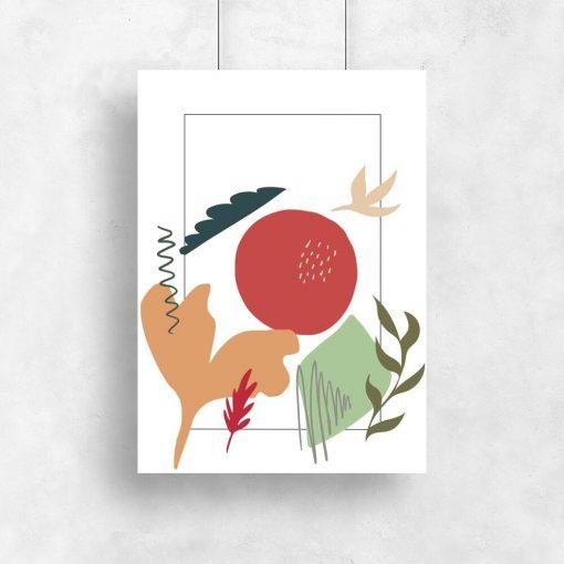 Kolorowy plakat z abstrakcyjnym krajobrazem